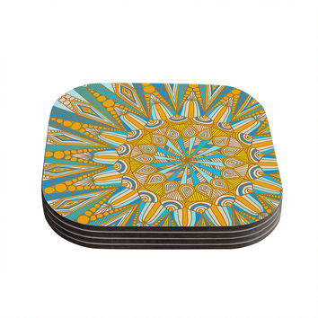 "Art Love Passion ""Here Comes The Sun"" Blue Yellow Coasters (Set of 4)"