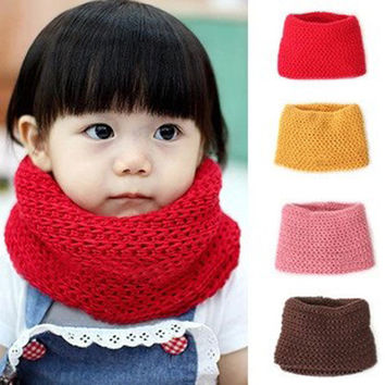 Winter Neckerchief Women Children's Cotton Muffler Baby Bib Warm Soft Boys Scarves Girls Knitted O Ring Scarf