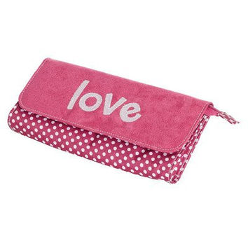 Mele & Co. Penny Embroidered Love Jewelry Clutch in Hot Pink