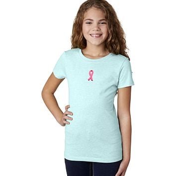 Buy Cool Shirts Girls Breast Cancer T-shirt Embroidered Pink Ribbon Small Print