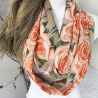 Infinity Scarf, Orange roses scarf, Large size scarf, Infinity scarves roses, Rose pattern Tube Scarves, Women's christmas gift option