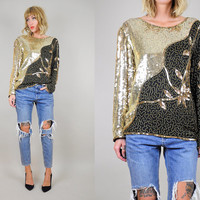 SILK Gold 80's SEQUINED Draped Blouse Black Beaded floral Oversized shirt Disco Party sm / med
