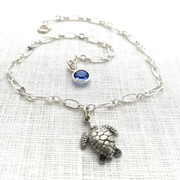Turtle Anklet for Women, Silver Honu Sea Turtle Jewelry, Stocking Stuffers for Teen Girl Gifts