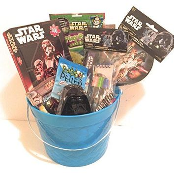 Disney Star Wars Easter Holiday Gift Basket or Birthday Basket - Puzzle, Coloring Book, Paddle ball, Playing Cards,Stationery Set, Play&GoPak, Candy,Stickers - 11 pieces