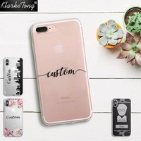 DIY Name Custom Design Print Case Cover For iPhone  6 6s 5 5s SE 7 7Plus 8 X Flower City Customized Soft Silicone TPU Coque Capa