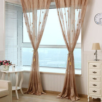 new Solid Sweet Floral Tulle Voile Pachira PrintedTulle Voile Door Window Curtain Living Room Bedroom Decor
