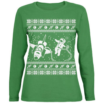 Astronaut in Space Ugly XMAS Sweater Green Womens Long Sleeve T-Shirt