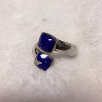 Multi Stone Mosaic Sodalite Inlay Adjustable Ring Set in Fine Silver Authentic Artisan Handcrafted  Mosaic Silver Ring 925 Size 7