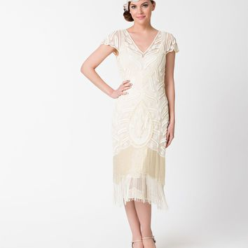 1920s Style Cream Ivory Beaded Vegas Fringe Flapper Dress
