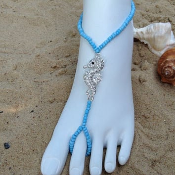 Silver Seahorse With Crystal Rhinestones Barefoot Sandle, Beach Weddings, Foot Jewerly, Toe Thongs, Seahorse Barefoot Sandals