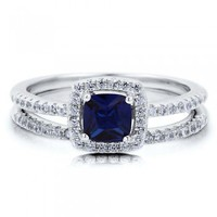Cushion Sapphire Cubic Zirconia CZ Sterling Silver 2Pc Bridal Ring Set #r576