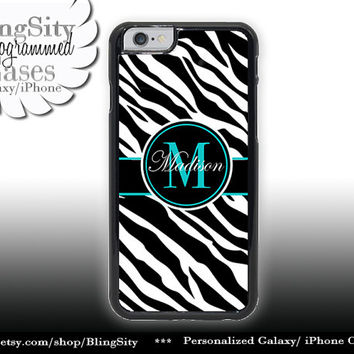 Monogram Black Zebra Print Iphone 6 case 6 Plus Aqua Personalized Name Iphone 4 4s 5 5s 5c 6 6+ Ipod Touch Cover