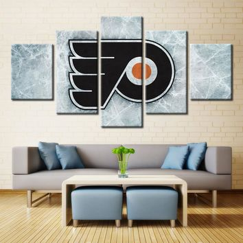 Ice Hockey Philadelphia Flyers Logo Sport NHL Wall Art for Home Decor Modular High Quality Pictures Oil Painting on Canvas 5pcs