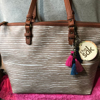 The Sak Pacifica Sand Dune Stripe Beige & White Coated Canvas Zip Tote & Shopper