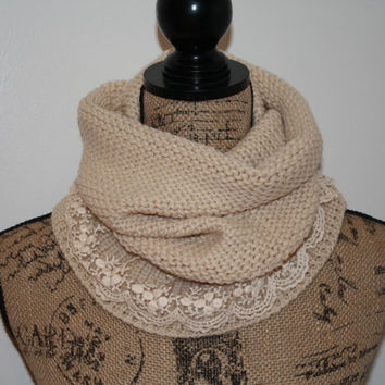 Cream Snook, Cable Knit Infinity Scarf, Knitted Scarf, Infinity Scarves, Infinity Scarf, Loop Scarf, Hand Knitted Scarf