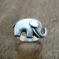 Elephant Ring Antiqued Silver Adjustable