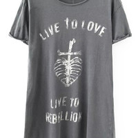 Live To Love Live to Rebellion Graphic Print Loose Fitting Grey T-Shirt