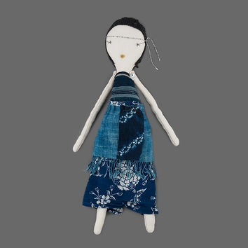 MILL MERCANTILE - Jess Brown Design - Limited Edition Indigo Rag Doll with Charcoal Hair in Floral Skirt