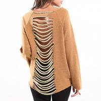 Slit Back Sweatshirt in Latte