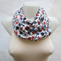 infinity scarf Loop scarf Neckwarmer Necklace scarf Fabric scarf  White Red Blue Black