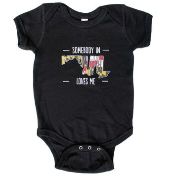 *PRE-ORDER* Somebody in Maryland Loves Me (Black) / Baby Onesuit (Estimated Arrival Date: 11/1)