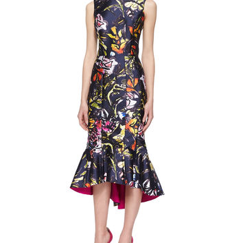 Abstract Floral-Print High-Low Flounce Hem