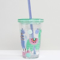 Paperchase Llamas Cup With Straw at asos.com
