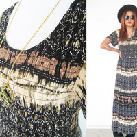 Vintage 70's native tribal ethnic hippie bohemian boho smock brown print summer maxi dress