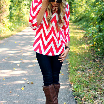 Can You Zig It Blouse - Red - Restocked