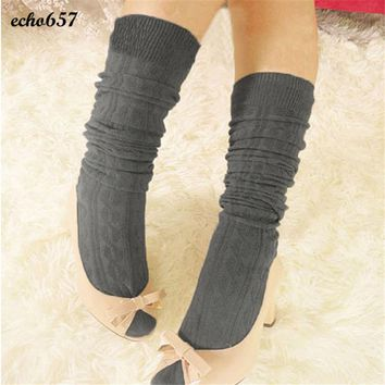 Hot Sale Echo657 New Fashion High Quality 1 Pair Cotton Women Knit Over Knee Thigh Stockings Spiral Pattern Stockings Nov 24