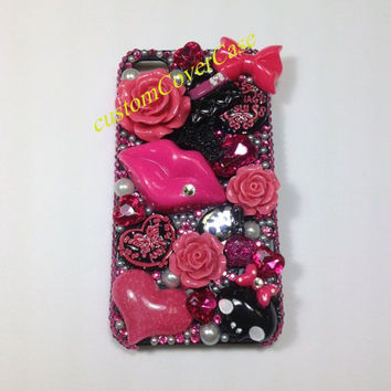 iPhone 5 Case, iPhone 5s Case, iPhone 4 Case iPhone4s Case, Hot Pink lips Bows Flowers swarovski crystal iPhone 5c Case Cute Galaxy S4 Case