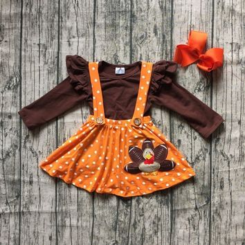 Thanksgiving Fall/winter baby girls clothing cotton halter turkey brown orange Button Straps dress boutique ruffles match bow