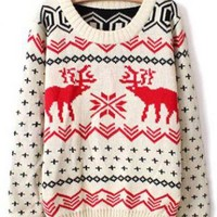 X'mas Deer Round Neck Sweater Beige S006061