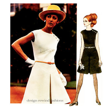 1960s Vogue DRESS PATTERN Belinda Bellville 60s MOD Fit & Flare Dress Vogue Couturier Designer 1988 Bust 38 Womens Vintage Sewing Patterns