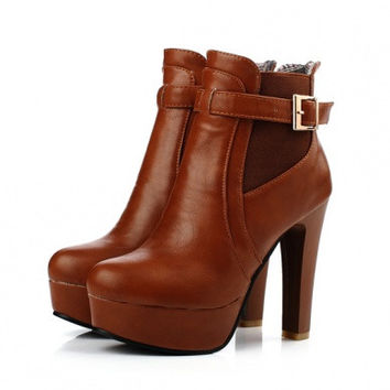 Comfortable boots PU matching suede metal decorate shoes # 45333