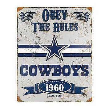 Dallas Cowboys 11x14 Vintage Metal Embossed Sign Room Wall Parking Football