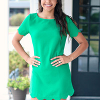 Green Scallop Dress