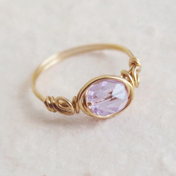 Alexandrite Crystal Rose Ring - unique rings - custom - wire wrapped ring