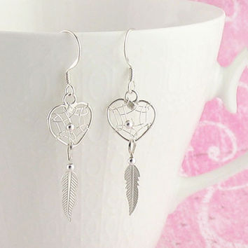 Heart Dreamcatcher Earrings in Sterling Silver