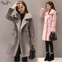 AIDAYOU Fashion Women overcoat fur autumn winter warm female lady loose suede coat button long plus size 2017 new ouc1811