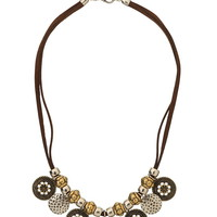 Casted Mixed Metal Medallion Necklace - Mixed Metal