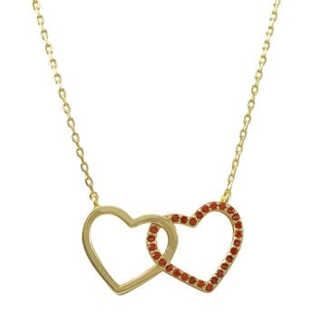 Gold Plated Sterling Silver, Open Double Heart Red CZ Necklace