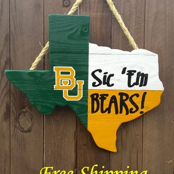 Rustic Wooden Baylor University Texas Shaped Flag Door/Wall Hanging