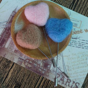 Wool Felted Heart Brooch Pins Jewelry brooches for woman men vintage lapel pins women's brooch needle friends gift