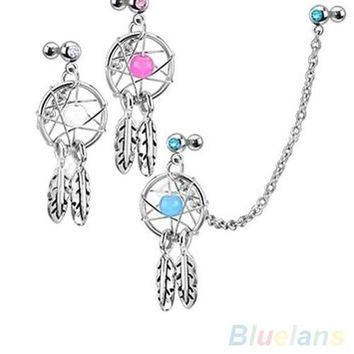 ac DCCKO2Q Dream Catcher Star Helix Tragus Cuff Ear Piercing Cartilage Stud Earring 4DAP