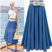 Pleated Solid Slim Belt Cotton Long Skirt