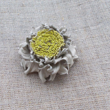 miniature Brooch Flower of Leather eco-friendly jewelry flower leather brooch for hats and handbags summer brooch miniature brooch, for mom