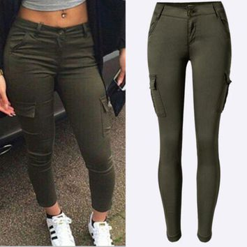 VONEJ8 Women's low-waist Slim stretch pants feet army green outdoor leisure sports climbing pants
