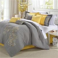 Queen size 8-Piece Comforter Set Floral Tree of Life Modern Grey Yellow