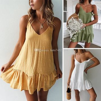 Mini Summer Spaghetti Strap Dress Backless Off Shoulder Yellow White Green Ruffle Sundress Sexy Beach Dress Women
